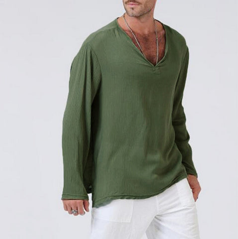 Men ethnic style long-sleeved solid color Sweatshirts