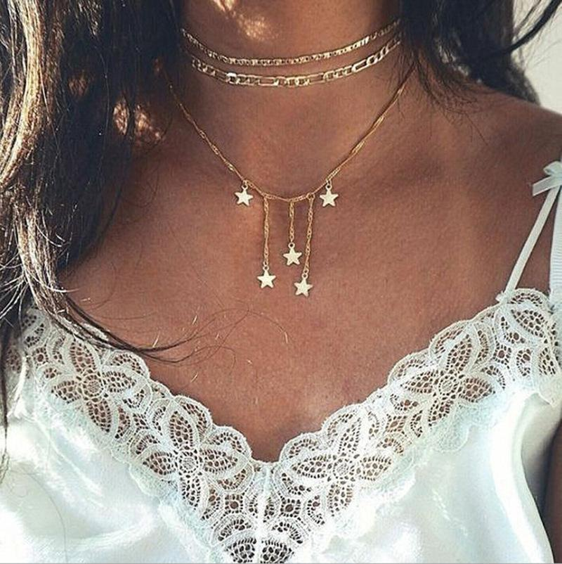 Fashionable multilayer five-pointed star necklace combination