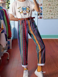 Women's Fashion Multicolor Striped Straight Pants