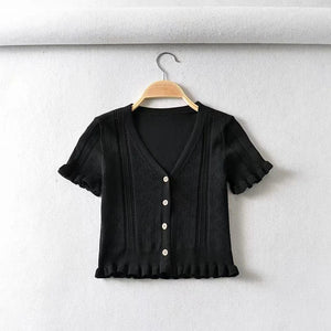 Hollow V-neck lace fungus short sleeve t-shirt cardigan