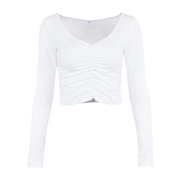 Long-sleeved U-neck pleated slim T-shirt