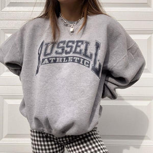 Womens Fashion Casual Letter Print Sweatshirt