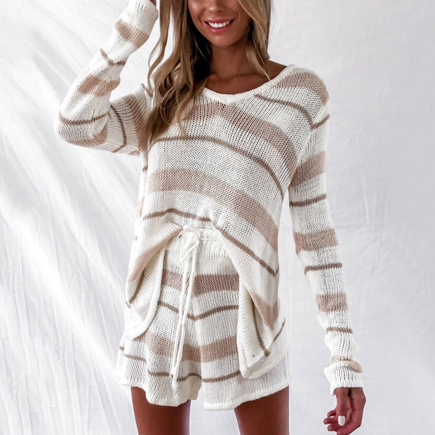 Fashionable home casual striped sweater shorts suit