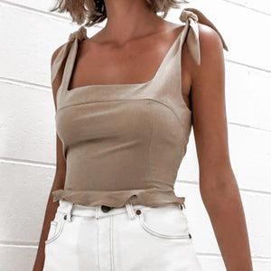 Solid color pleated fungus strap top