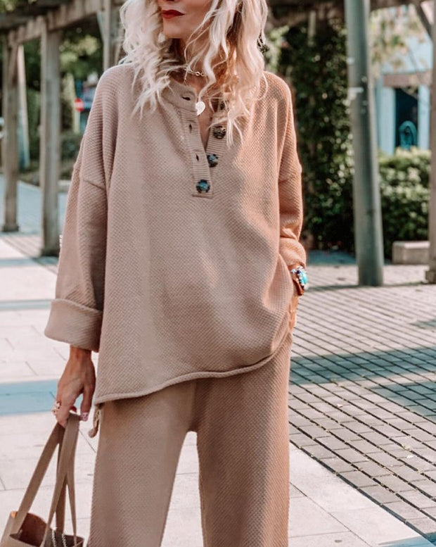 Women'S Loose Solid Color Long Sleeve Casual Suit
