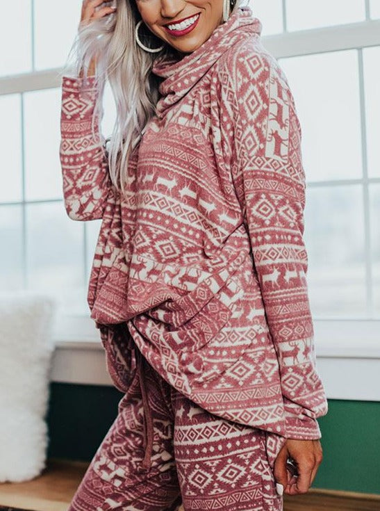 Women'S Christmas Casual Printed Long-Sleeved Loose Suit