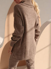 Women'S Autumn Winter Knit Knitted Brown Warm  Suit
