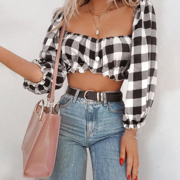Sexy Check Long Sleeve Wrapped Short Top