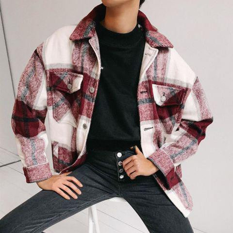Women's Vintage Check Print Long Sleeve Jacket
