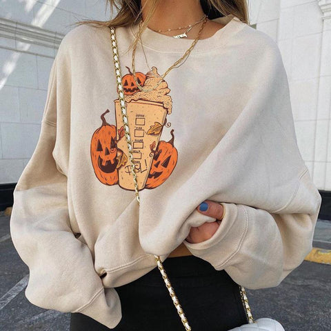 Women's Halloween Pumpkin Milk Tea Cup Print Loose Sweatshirt