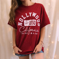 Fashion casual letter printed round neck T-shirt