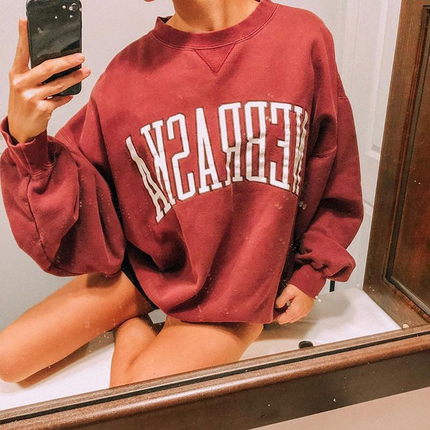 Fashion loose letters long sleeves sweatershirt