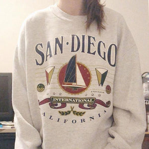 Fashion printed loose long sleeves sweatershirt