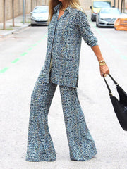 Women'S Fashion Simple Casual Loose Shirt Top Pants Suit