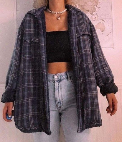 Women's Retro Plaid Shirt Jacket
