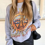Retro loose print sweatshirt