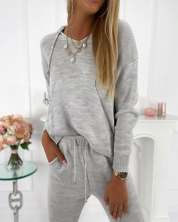 Women'S Oaclay Comfy Grey Plain Long Sleeve Lounge Suit