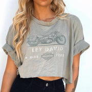 Women's Retro Casual Motorcycle Letter Print Short Round Neck T-Shirt