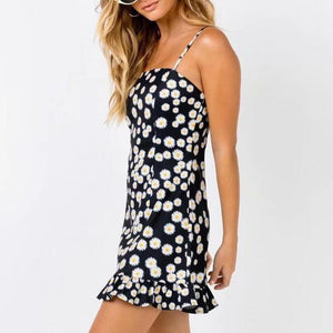 Sexy little daisy print flat strap dress