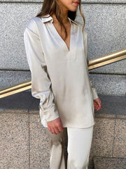 Women'S Fashion Casual Silk Blouses Loose Two-Piece Suit