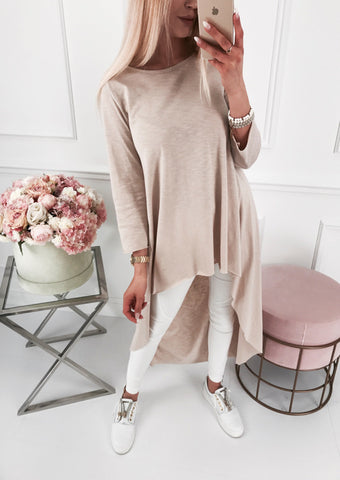 Women'S Round Neck Long Sleeve Irregular Slub Sweater Casual Dress