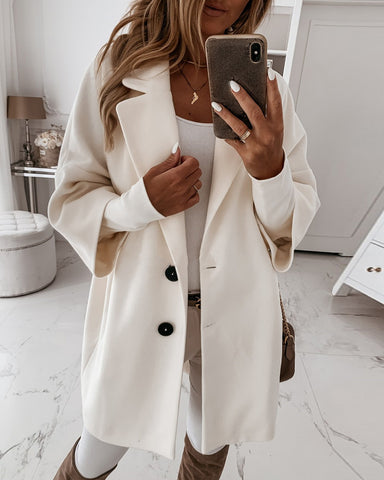Women'S Button Design Long Sleeve Casual Coat
