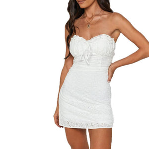 Hook flower pleated skinny strapless sexy white lace dress
