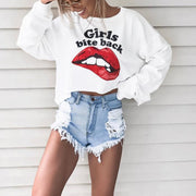 Women'S Fashion Big Lips Letter Print Round Neck Sweatshirt