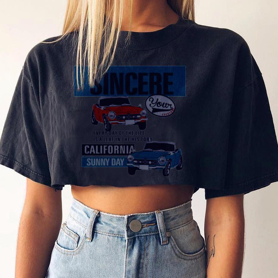 Women's Casual Simple Car Print Round Neck Short T-Shirt