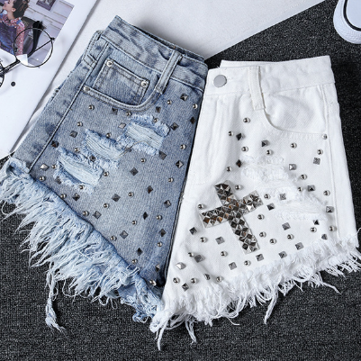 Street Style Ragged Edge Cross Decoration Hot Pants