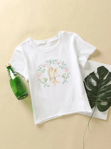 Printed short sleeve sexy short round neck top