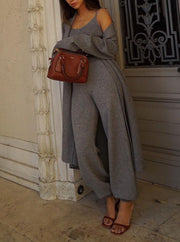 Women'S Fashion  Knitted Wide-Leg Pants Three-Piece Suit