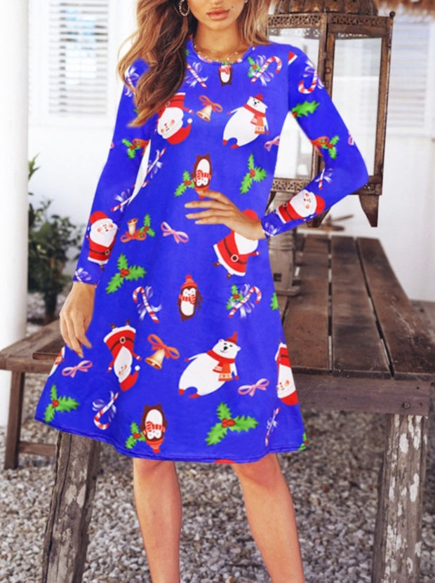 Women'S Knitted Christmas Print Long Sleeve Midi Dress