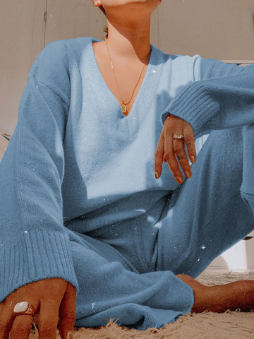 Women'S V-Neck Long-Sleeved Top And Trousers Knit Suit