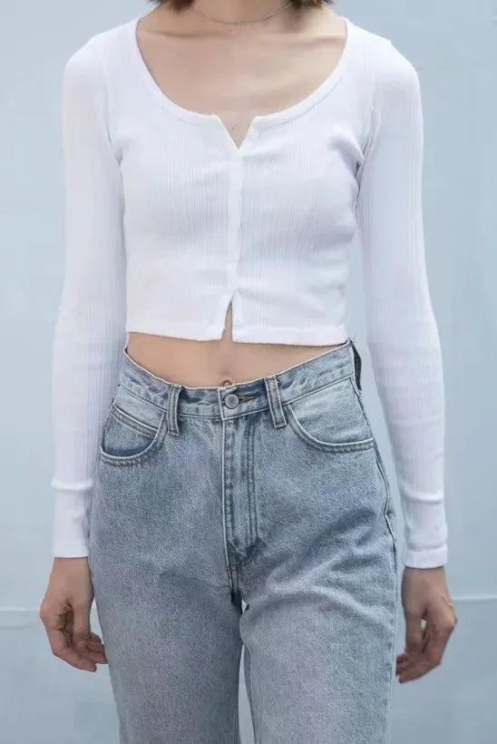 High-waist short-cut navel single-breasted cardigan long-sleeved T-shirt