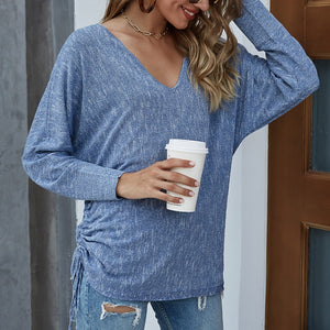 Women'S Drawstring Pullover Bat Sleeve Loose Knit Sweater