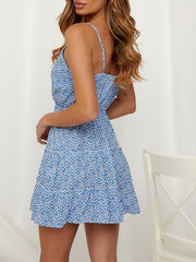 Sexy Deep V-neck Strap Pleated Print Dress