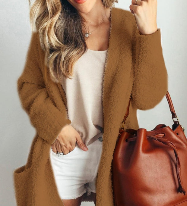 Women'S Casual Solid Color Reversible Fleece Long Sleeve Coat