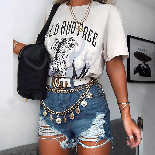 Women's Fashion Casual Round Neck Print Short Sleeve T-Shirt HH005