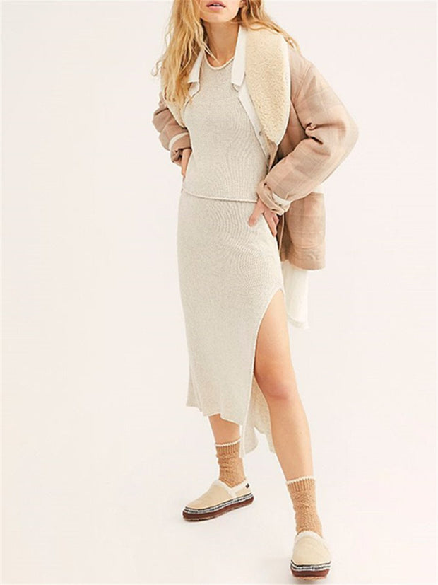 Women'S Fashion Solid Color Knitted Loose Skirt Suit