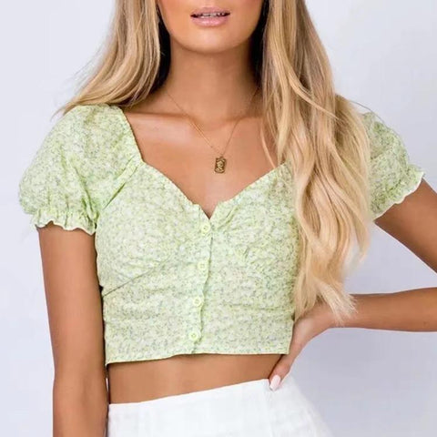 French printed slim one-breasted crop top