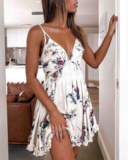 White printed pleated strap mini dress