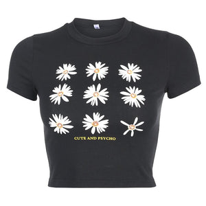 Casual wild daisy print round neck short sleeve T-shirt