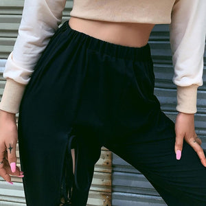 Women's High Waist Casual Hollow Strap Straight Trousers