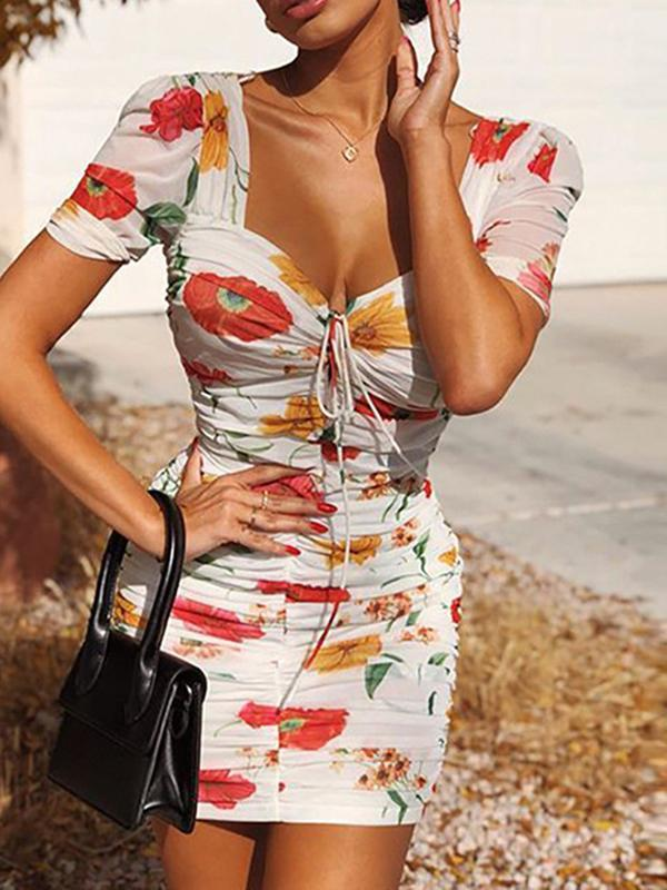 sexy shoulder print Short sleeve slim dres