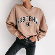 Women'S Fashion Khaki Printed Long Sleeve Sweatshirt