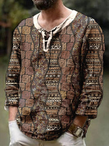 Men's Ethnic Print three-quarter Sleeve Casual Blouses