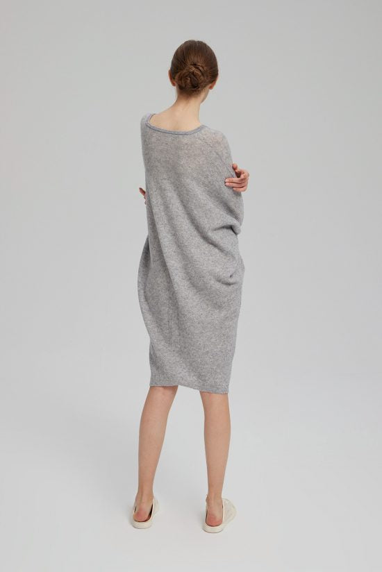 Women'S Loose V-Neck Solid Color Casual High Neck Knitted Midi Dress