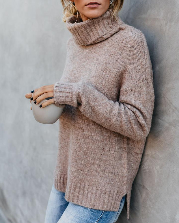 Women'S Fashion Khaki Turtleneck Sweater