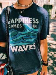 Women's Happiness Comes In Waves T-shirt